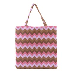 Shades Of Pink And Brown Retro Zigzag Chevron Pattern Grocery Tote Bag by Nexatart