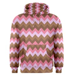 Shades Of Pink And Brown Retro Zigzag Chevron Pattern Men s Pullover Hoodie