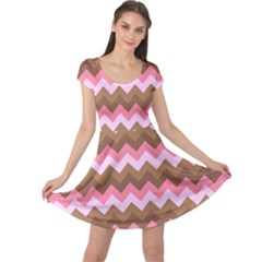 Shades Of Pink And Brown Retro Zigzag Chevron Pattern Cap Sleeve Dresses