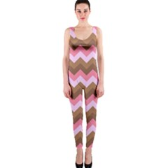 Shades Of Pink And Brown Retro Zigzag Chevron Pattern Onepiece Catsuit