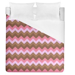 Shades Of Pink And Brown Retro Zigzag Chevron Pattern Duvet Cover (queen Size)