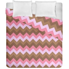 Shades Of Pink And Brown Retro Zigzag Chevron Pattern Duvet Cover Double Side (california King Size) by Nexatart