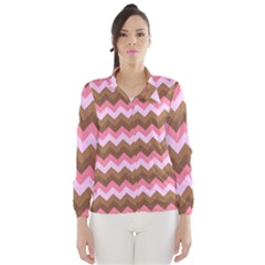 Shades Of Pink And Brown Retro Zigzag Chevron Pattern Wind Breaker (women)