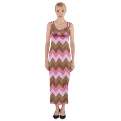 Shades Of Pink And Brown Retro Zigzag Chevron Pattern Fitted Maxi Dress