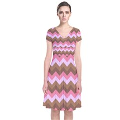 Shades Of Pink And Brown Retro Zigzag Chevron Pattern Short Sleeve Front Wrap Dress