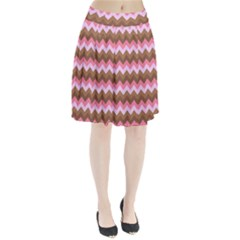 Shades Of Pink And Brown Retro Zigzag Chevron Pattern Pleated Skirt