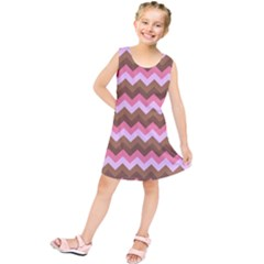 Shades Of Pink And Brown Retro Zigzag Chevron Pattern Kids  Tunic Dress