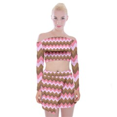 Shades Of Pink And Brown Retro Zigzag Chevron Pattern Off Shoulder Top With Skirt Set
