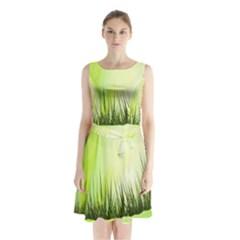 Green Background Wallpaper Texture Sleeveless Waist Tie Chiffon Dress