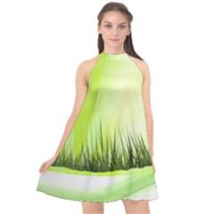 Green Background Wallpaper Texture Halter Neckline Chiffon Dress