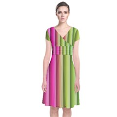 Vertical Blinds A Completely Seamless Tile Able Background Short Sleeve Front Wrap Dress