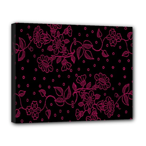 Pink Floral Pattern Background Canvas 14  X 11