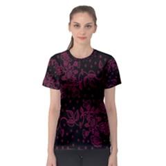 Pink Floral Pattern Background Women s Sport Mesh Tee
