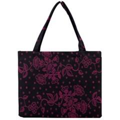 Pink Floral Pattern Background Mini Tote Bag
