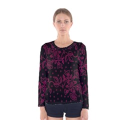 Pink Floral Pattern Background Women s Long Sleeve Tee