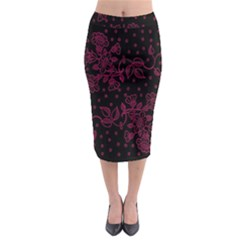 Pink Floral Pattern Background Midi Pencil Skirt