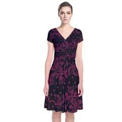 Pink Floral Pattern Background Short Sleeve Front Wrap Dress