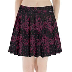 Pink Floral Pattern Background Pleated Mini Skirt by Nexatart