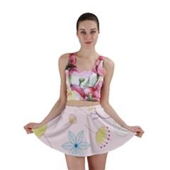 Pretty Summer Garden Floral Bird Pink Seamless Pattern Mini Skirt