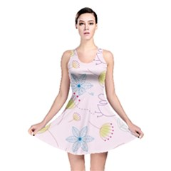 Pretty Summer Garden Floral Bird Pink Seamless Pattern Reversible Skater Dress