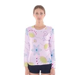 Pretty Summer Garden Floral Bird Pink Seamless Pattern Women s Long Sleeve Tee