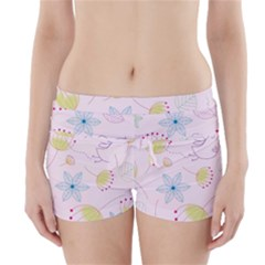 Pretty Summer Garden Floral Bird Pink Seamless Pattern Boyleg Bikini Wrap Bottoms