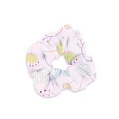 Pretty Summer Garden Floral Bird Pink Seamless Pattern Velvet Scrunchie