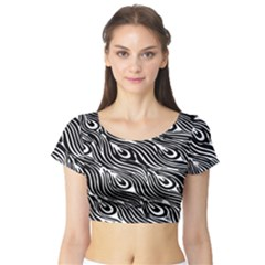Digitally Created Peacock Feather Pattern In Black And White Short Sleeve Crop Top (tight Fit) by Nexatart