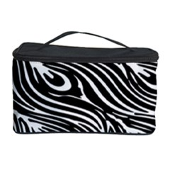 Digitally Created Peacock Feather Pattern In Black And White Cosmetic Storage Case by Nexatart