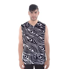 Digitally Created Peacock Feather Pattern In Black And White Men s Basketball Tank Top