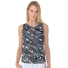 Digitally Created Peacock Feather Pattern In Black And White Women s Basketball Tank Top