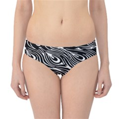 Digitally Created Peacock Feather Pattern In Black And White Hipster Bikini Bottoms
