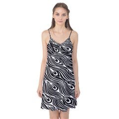 Digitally Created Peacock Feather Pattern In Black And White Camis Nightgown