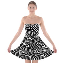 Digitally Created Peacock Feather Pattern In Black And White Strapless Bra Top Dress