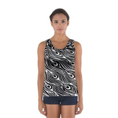 Digitally Created Peacock Feather Pattern In Black And White Women s Sport Tank Top