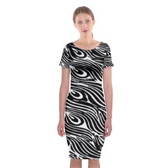Digitally Created Peacock Feather Pattern In Black And White Classic Short Sleeve Midi Dress