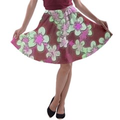 Lovely Floral 29 B A Line Skater Skirt by MoreColorsinLife
