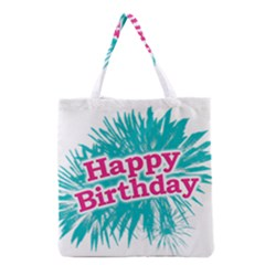 Happy Brithday Typographic Design Grocery Tote Bag