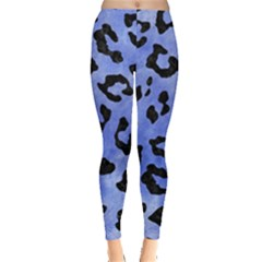 Skin5 Black Marble & Blue Watercolor Leggings  by trendistuff