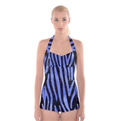 Skin4 Black Marble & Blue Watercolor (r) Boyleg Halter Swimsuit