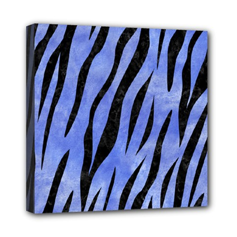 Skin3 Black Marble & Blue Watercolor (r) Mini Canvas 8  X 8  (stretched) by trendistuff