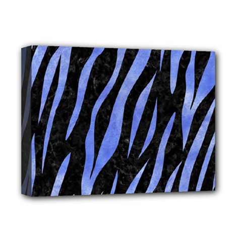 Skin3 Black Marble & Blue Watercolor Deluxe Canvas 16  X 12  (stretched)  by trendistuff