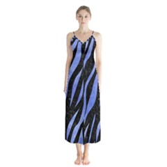 Skin3 Black Marble & Blue Watercolor Button Up Chiffon Maxi Dress