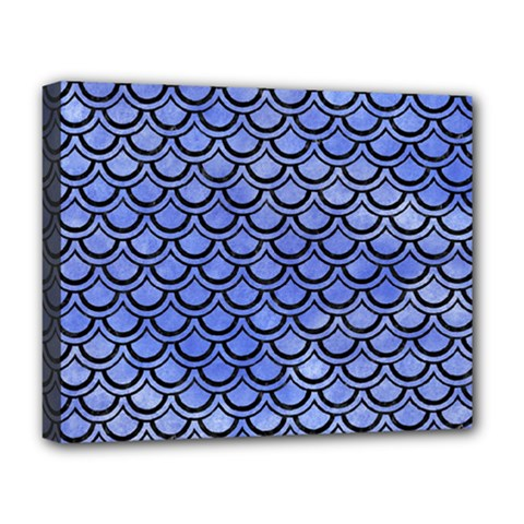 Scales2 Black Marble & Blue Watercolor (r) Deluxe Canvas 20  X 16  (stretched) by trendistuff