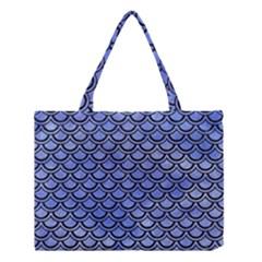 Scales2 Black Marble & Blue Watercolor (r) Medium Tote Bag by trendistuff