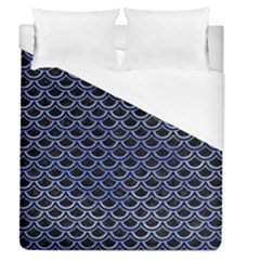 Scales2 Black Marble & Blue Watercolor Duvet Cover (queen Size) by trendistuff