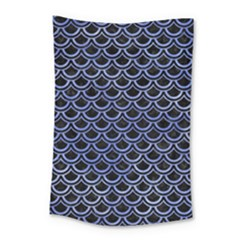 Scales2 Black Marble & Blue Watercolor Small Tapestry by trendistuff