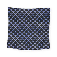 Scales1 Black Marble & Blue Watercolor Square Tapestry (small) by trendistuff