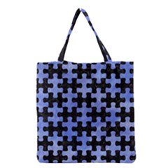Puzzle1 Black Marble & Blue Watercolor Grocery Tote Bag by trendistuff