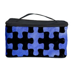 Puzzle1 Black Marble & Blue Watercolor Cosmetic Storage Case by trendistuff